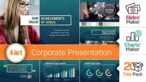 4-in-1: Corporate Presentation + Slides' Maker, Charts' Maker and Title Pack