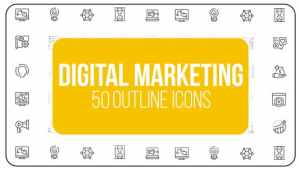 Digital Marketing - 50 Thin Line Icons