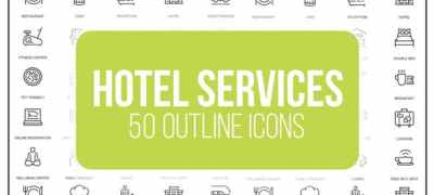 Hotel Services - 50 Thin Line Icons
