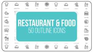 Restaurant and Sport - 50 Thin Line Icons