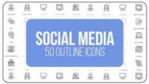Social Media - 50 Thin Line Icons