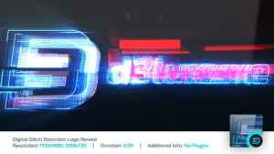 Digital Glitch Distortion Logo Reveal