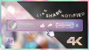 Youtube Subscribe Rainbow Glass Button