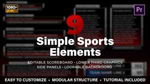 Simple Sports Elements Kit | MOGRT for Premiere Pro