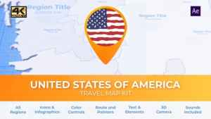 Travel Map USA - United States of America
