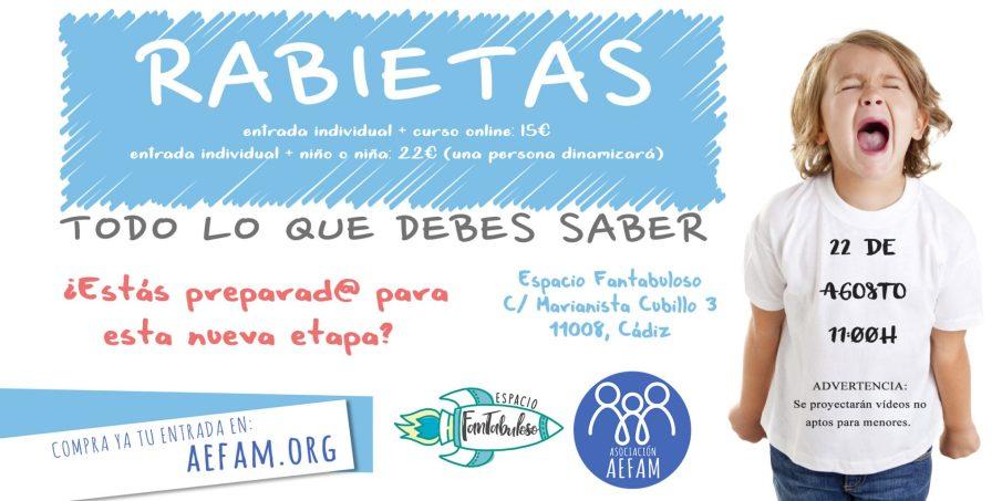 Taller Rabietas – 22 de Agosto a las 11:00h en Espacio Fantabuloso (Cádiz)