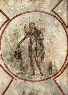 Bom Pastor, nas Catacumbas de Calistoem Roma - séc. III d.C