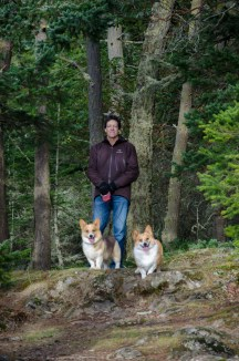 Dad with corgis