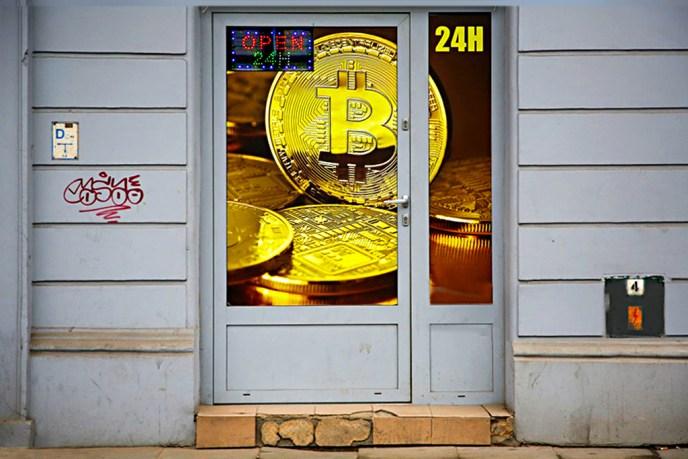 Bitcoin exchange shop at Grzegorzecka Street in Krakow, Poland on 15 March, 2018.  (Photo by Beata Zawrzel/NurPhoto via Getty Images)