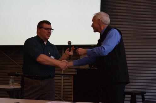John Walker, AEHA President, thanks Dr. Jay Butler for his keynote address.