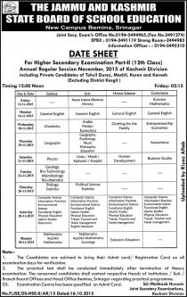 IMG 6946 Date Sheet Class XII Annual Regular Session November 2015