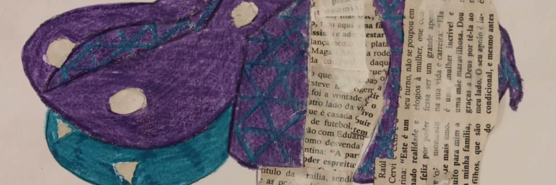 Hipopótamo com papel de jornal e marcador