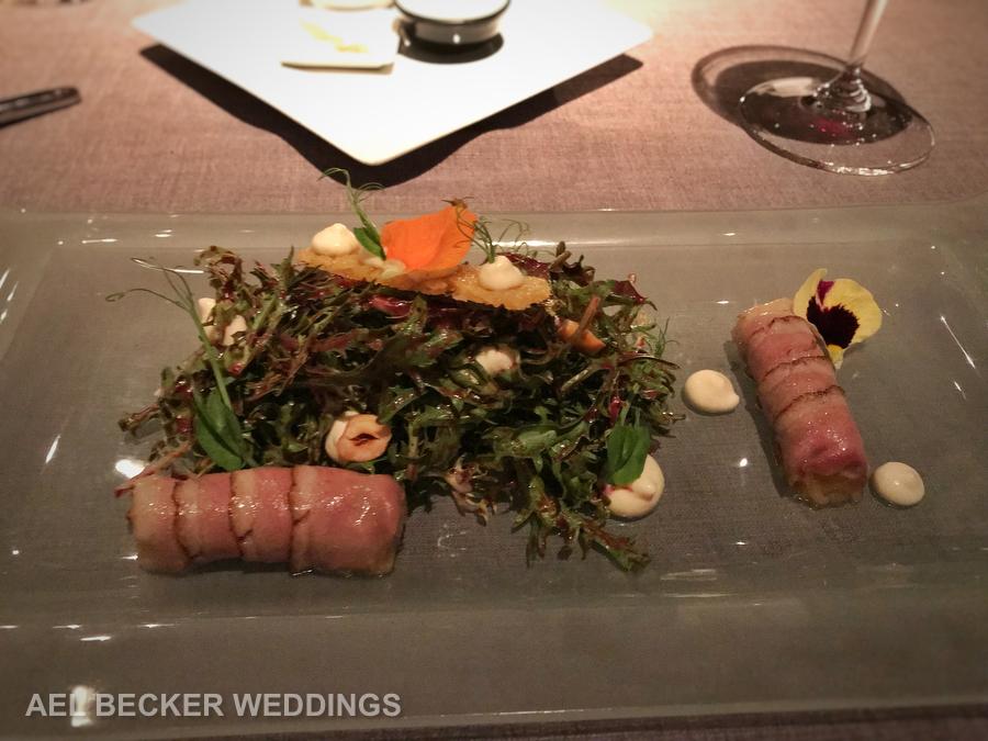 Duck magret salad. Piaf Grand Velas, French Cuisine