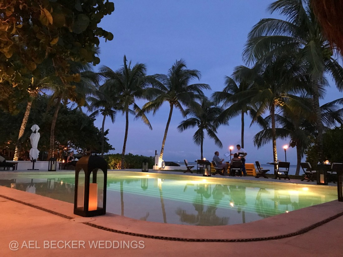 Romantic candlelit dinner at Hotel Esencia, Beachfront Boutique Hotel in Mexico. Ael Becker Weddings