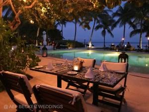 Romantic candlelit dinner at Esencia Hotel, Xpuha Beach, Mexico