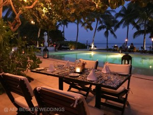 Romantic candlelit dinner at Esencia Hotel, Xpuha Beach, Mexico