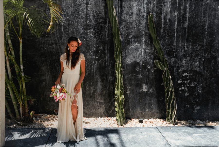 Beautiful bridal portrait in Tulum, Mexico by Lili Breton Photo