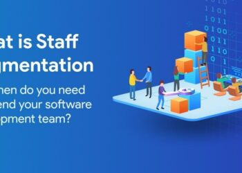 staff augmentation people with icons on 3d backdrop