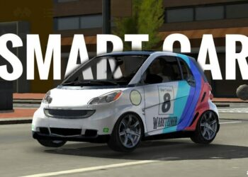 Smart car picture with logo icons