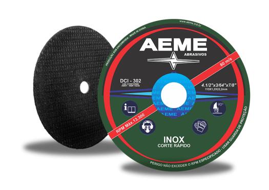 Disco de Corte Aeme Aço/Inox DCI 302 4.1/2x3/64x7/8 (SKU 03300)