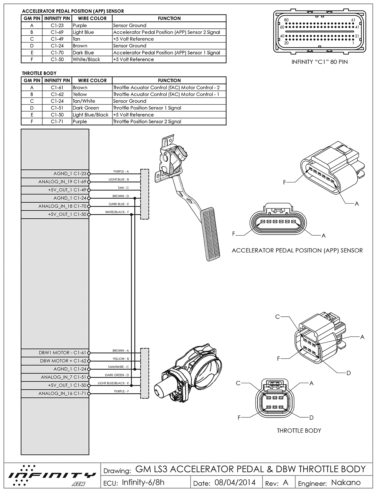 GM LS3 Accelerator Pedal Position %26 DBW Throttle Body Infinity 6 8h Rev A gm 3 bar map sensor rx7clubcom mazda rx7 forum gm ls1 throttle ls3 map sensor wiring diagram at fashall.co