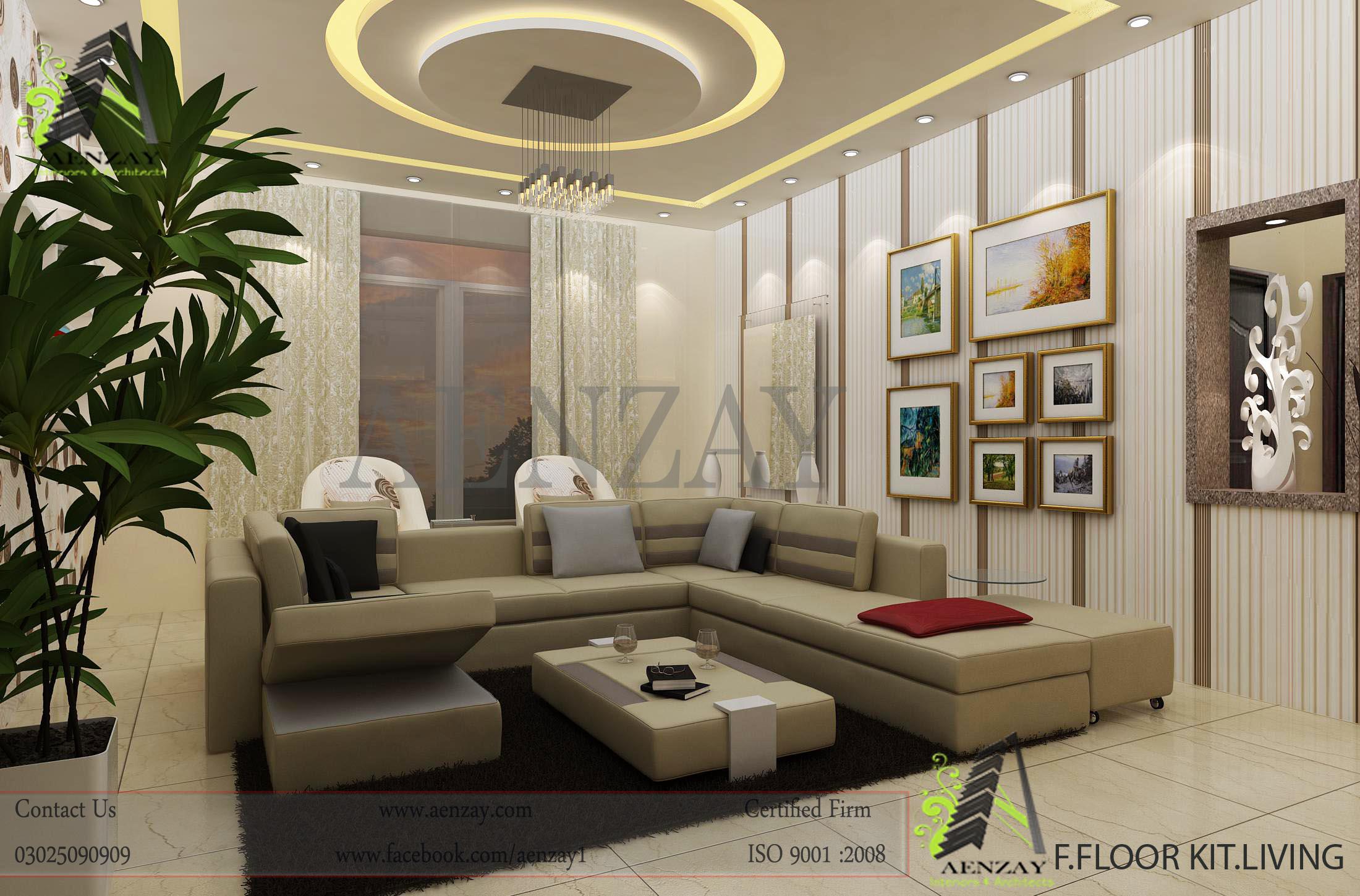 living area design  Aenzay Interiors  Architecture