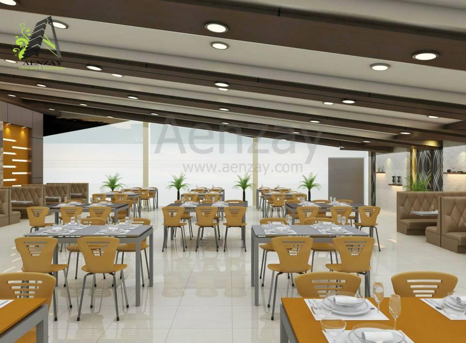 interior design for Cafeteria  Aenzay Interiors