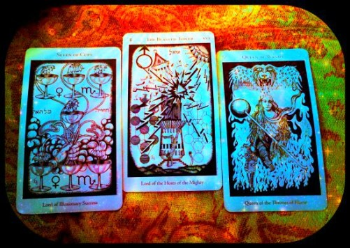 I. Seven of Cups II. The Tower III. The Queen of Wands