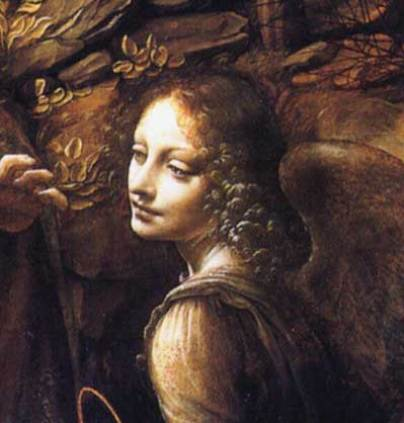 detail from Madonna of the Rocks by Leonardo da Vinci (1486)