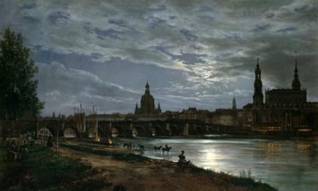 Blick-auf-Dresden-bei-Vollmondschein