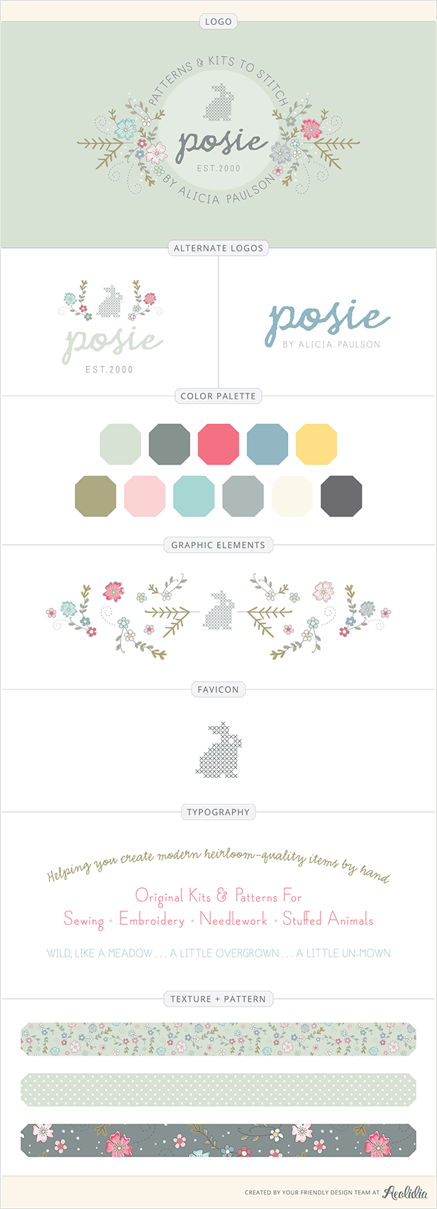 Branding Details For Posie A Craft Business Aeolidia