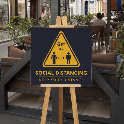 Social Distancing Sign Outdoor Restaurant