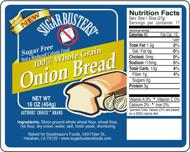 Sugar Buster Onion Bread label