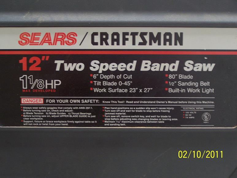 craftsman band saw wiring diagram