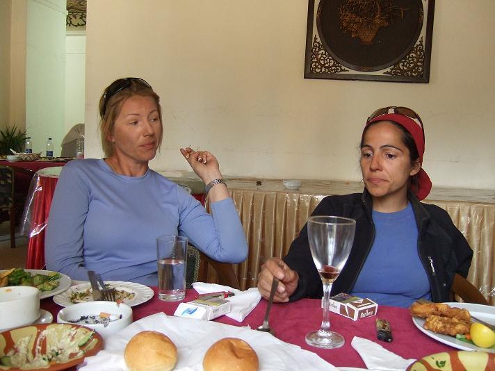 Team leaders, Jessica Kaiser and Freya Sandarangani at lunch in the hotel.