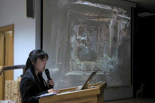 Caption: Manami Yahata shows results of AERA's laser scanning project at KKT and the Step Pyramid.