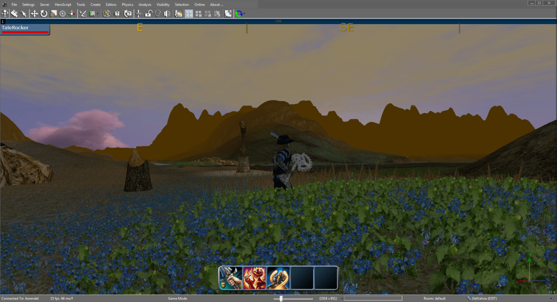 Me { TaleRocker ) in the middle of a field of blue flowers.