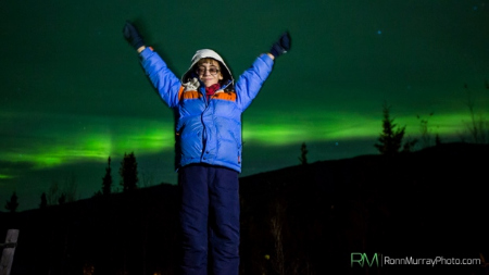 Boy and Northern Lights