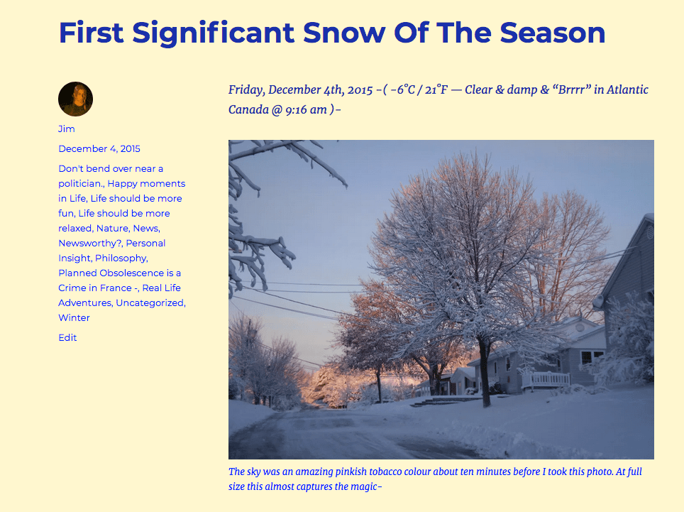 """""""First Significant Snow -"""""""