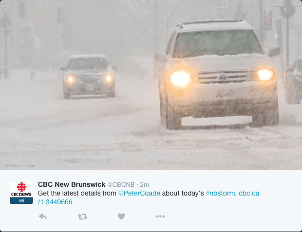 Weather tweet from CBC