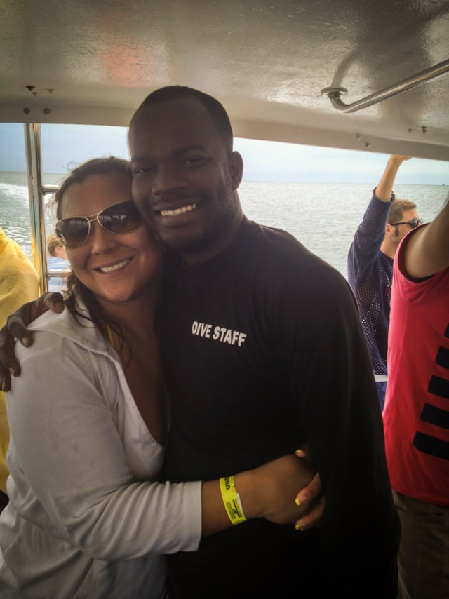 Congratulations PADI Open Water Scuba Diver, Robin Leworthy Wilson celebrating with PADI Instructor, Jarvis Rolle.