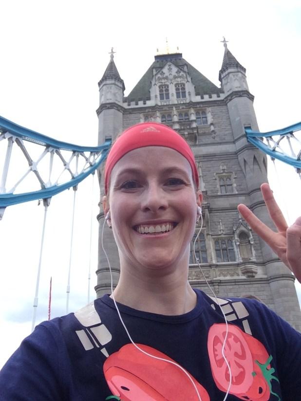 Running over the Tower Bridge.