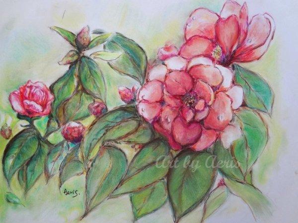 Rain Roses Pastel Drawing