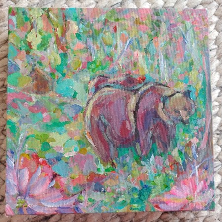 3 Bears Bold Impressionist Acrylic Painting By Aeris Osborne