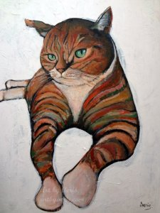 Relaxing Cat Painting