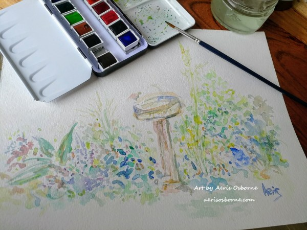 Garden Birdbath Watercolor Painting