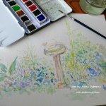 Garden Birdbath Watercolor Painting