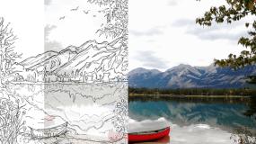 Jasper Maligne Lake Painting Transformation