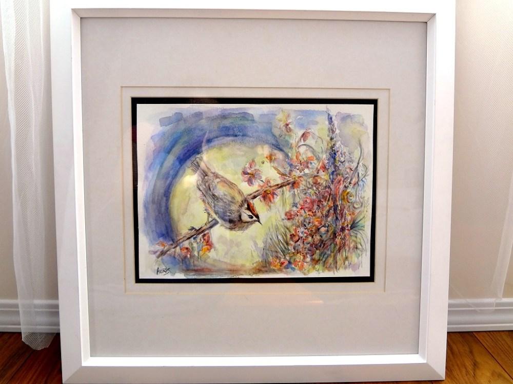Full Moon Bird Original Watercolor Painting
