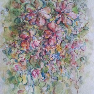 Joyful Flowers Wall Watercolor Original Painting